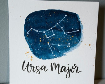 Ursa Major Constellation Painting - Galaxy, Night Sky, Stars, Original Watercolor