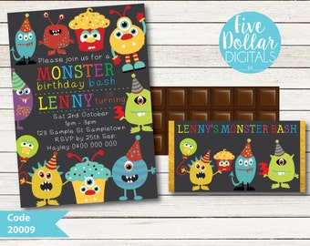 Monster Personalised Digital Birthday Invitation & Chocolate Candy Bar Wrapper