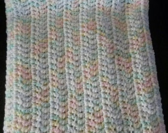 Multi colored crochet baby blanket. Hand made