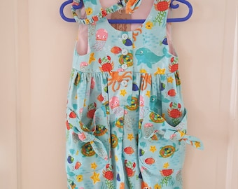 Girls Sea creature playsuit with matching hairband age 3