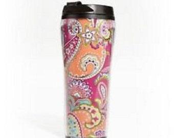 Vera Bradley Travel Mug Pink Swirls