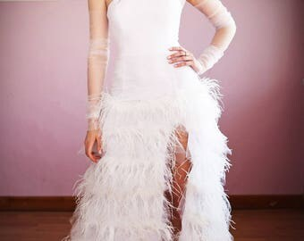 Wedding Slit Dress. Wedding Dress with Ostrich Feathers. Unique Wedding Dress. Feather Wedding Gown. Free Shipping