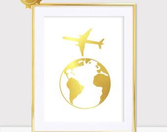 Global Travel Golden Wall Art Gold Foil Wall Art Gift Paper Golden Earth Plane Print Modern Golden Wall Art Wall Art Decor No Frame A03
