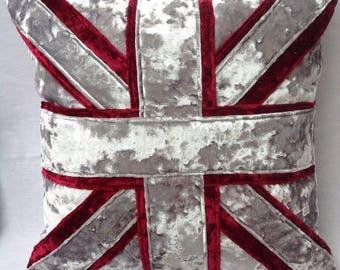Crushed velvet Union Jack cushion