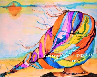 Her Happy Place~ 9 x 12  Print of  Original Watercolor~ Beach~ Long Hair~ Bright colors