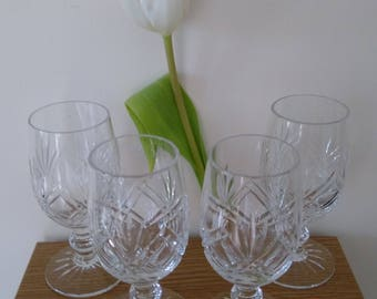 4 Vintage Cut Glass Port/Sherry Glasses