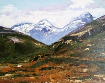 Painting 'Norwegian landscape'in acrylic on canvas