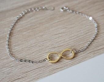 Gold Silver infinity bracelet