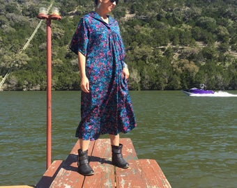 Vintage Floral Caftan - One Size Fits All