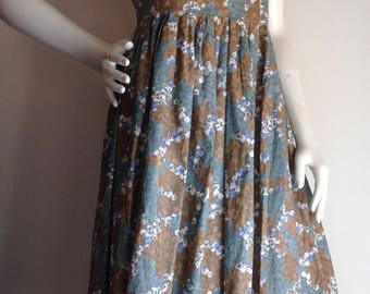 Vintage dress 1950s cotton bubbleprint blue gray green brown fit and flare gathered shoulders with belt