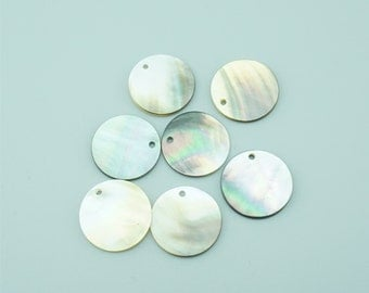 10pcs 20mm  Flat Round Natural Shell Pendants Black Lip Shell Pendants BK001