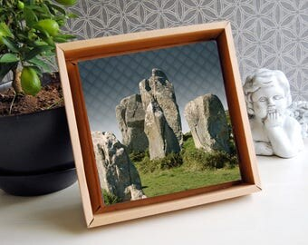 Image print 'The mystery of the stones' on cardboard frame