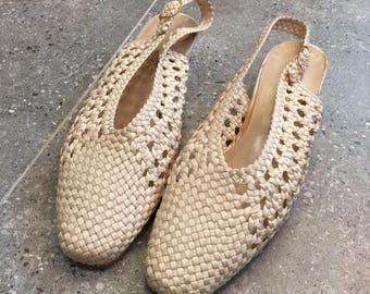 Vintage Doriani Off White Woven Pumps Heels, 90s Women Shoes