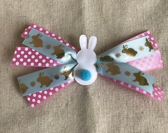 Easter Bunny Bow--- Blue Tail