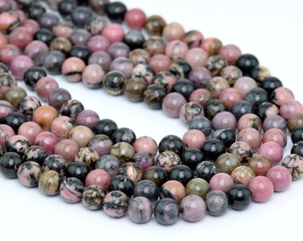 "8MM Rhodonite Natural Gemstone Round Shape Full Strand Loose Beads 15.5"" (100066-257)"