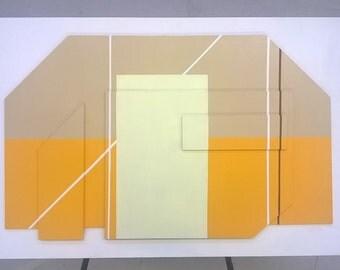 Handmade minimalist sculptural painting, acrylic on Board (79x59cm)