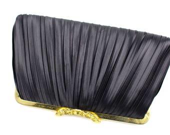 Vintage Black Pleated Fabric Clutch