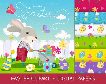 Easter Bunny Set Digital ClipArt and Papers