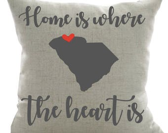 Home is Where the Heart Is Personalized Pillow- Home Pillow, Family Name Pillow, Personalized Pillow, Wedding Gift, Engagement Gift,