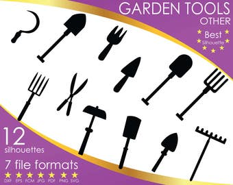Silhouette garden etsy for Gardening tools list pdf