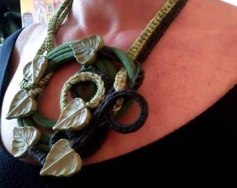 Belladonna necklace handmade Green Saber Bijoux