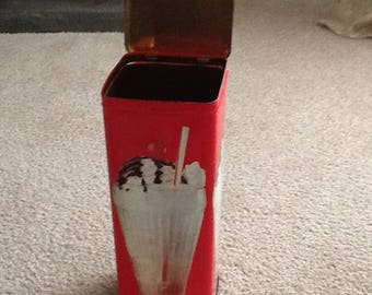 Large Vintage Tin Chocolate Milkshake Made in England/ VIntage Straw Holder