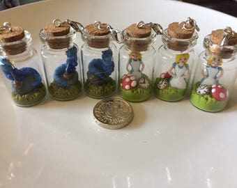 Miniature Alice in wonderland bottle charm