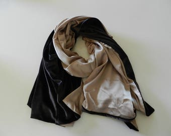 Elegant handmade double-sided brown velvet and multicolored silk scarf