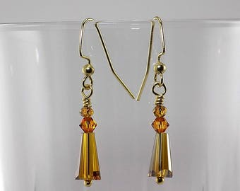 Clear amber faceted teardrops, Swarovski elements, gold wire, very petite dangle