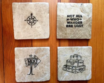 Adventure Coasters - Father's day gift - Travel Coasters - Gift for Travel Enthusiast - Set of Natural Stone Coasters - Wanderlust