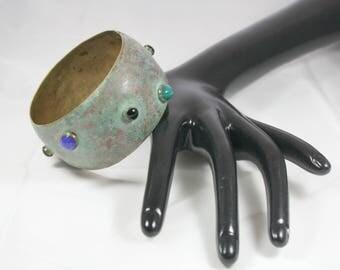 Copper Boho Bracelet with Various Cabochons