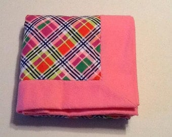 Baby Receiving Blanket, pink plaid with pink back