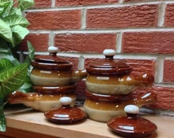 8-pc Brown Glaze French Onion Soup/Chili Crocks, Service for 4