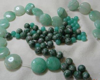 Green Mix 1 BbO Mix of Green Gemstone Beads 3.5 Oz