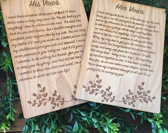 Wedding Vows Plaques