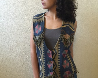 Vintage Vest with Fringe Detail
