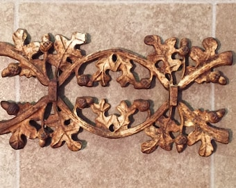 Antique early 1900's Iron Gate Decoration Acorn and Oak Leaves