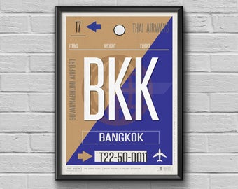 Bangkok Vintage Travel Poster, Luggage Tag Print, Airport Art, Airplane Decor, Gift for Travel Lovers, Thailand Travelers Retro Baggage Tag