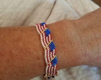 Patriotic bracelet made with delica beads. For the red, white and blue lover.