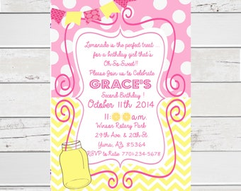 Personalized Lemonade Stand Birthday Party Invite, Lemonade Party, Lemonade Stand Invite, Lemonade Birthday DIY Printing