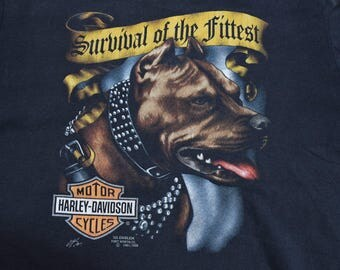 XL 3D Emblem Survival of the Fittest American Biker Nineties 1991 Harley Davidson Motorcycles T-shirt Milwaukee