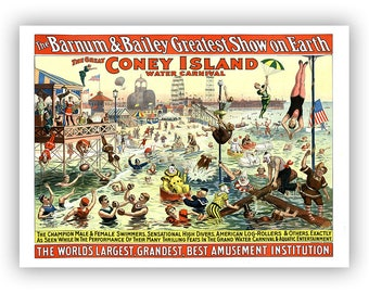 Circus Poster, Coney Island Art, Water Carnival Featuring Clowns, Performers And Aquatic Entertainment, Vintage Style Print