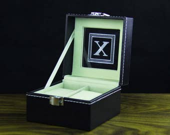 Personalized watch box, 2 holders - Custom groomsman gift, gift for him, best man gift , Father's Day Gift, wedding gift, birthday gift