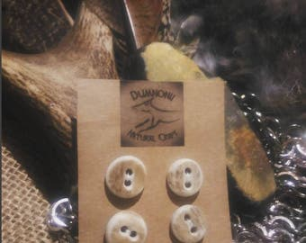 Natural Deer Antler Buttons, Side Cut 12-15mm