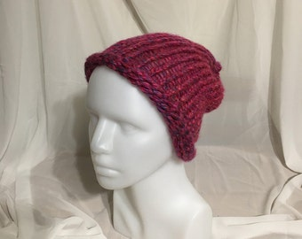 A pink hat with purple tones