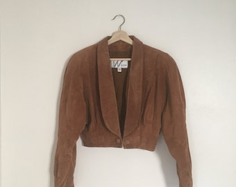 Leather by Wilsons cropped suede jacket