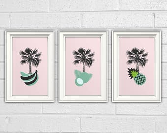 Palm Fruits, 3-in-1, Unique Wall Art Print, HQ Posters, Art, Digital Download, Printable Decor, Nursery Room.