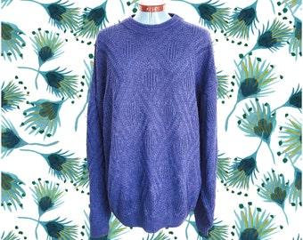 Vintage 1980s Saturdays Brand Sweater Blue Ramie/Cotton Oversized Boyfriend Sweater Size Large Boxy Normcore