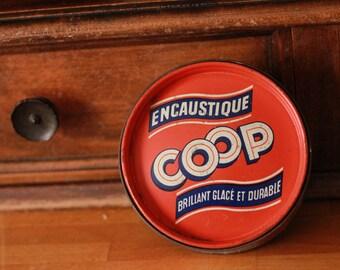 Box Metal Vintage advertising Encaustic COOP