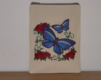 Embroidered iPad or Tablet case; iPad Air 2 case; Galaxy Tab S2; Tab A; Tab E case. Protective foam padded case. Fabric iPad or Tablet case
